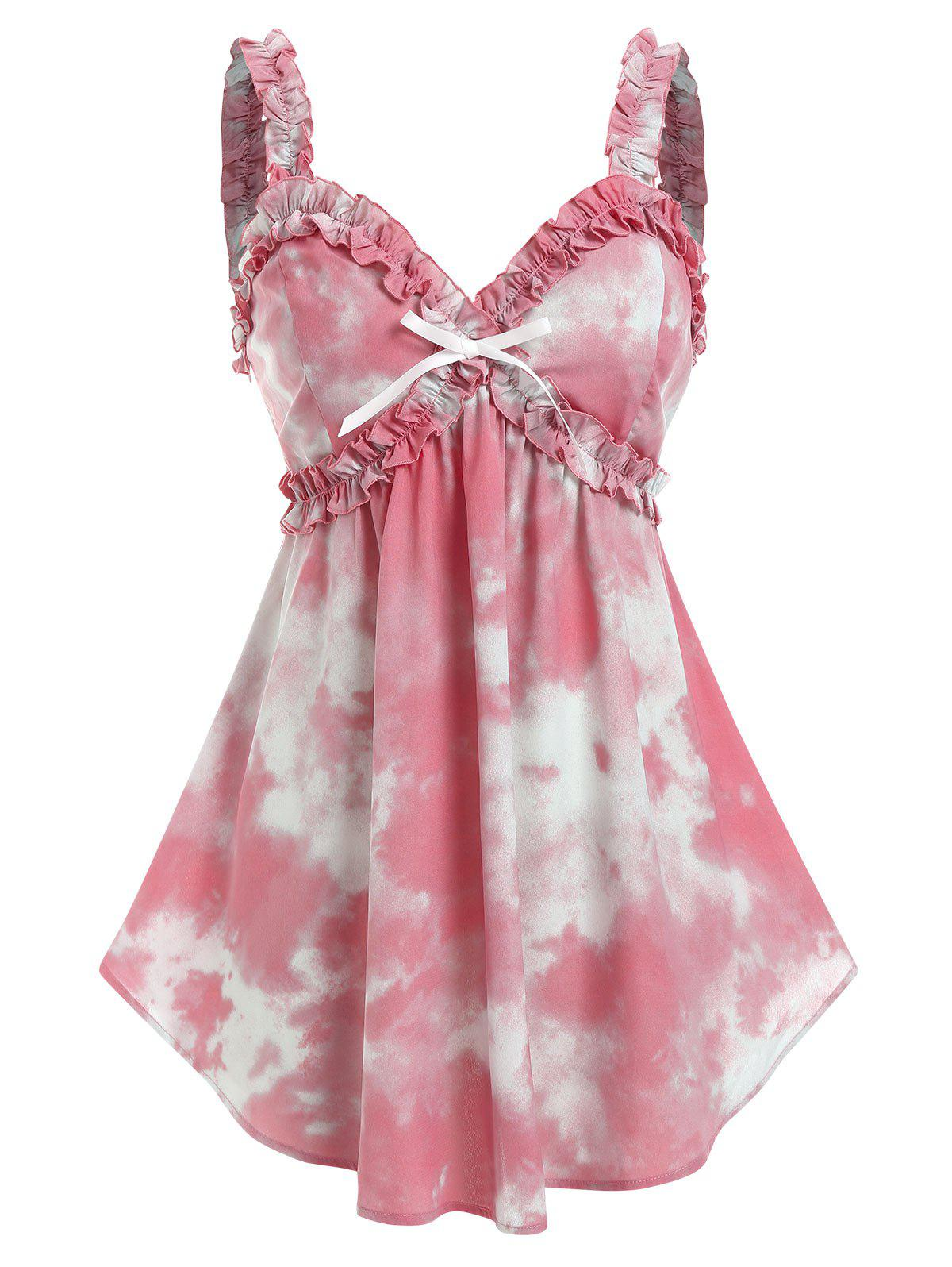 Plus Size Bowknot Tie Dye Frilled Backless Tank Top - LIGHT PINK 3X