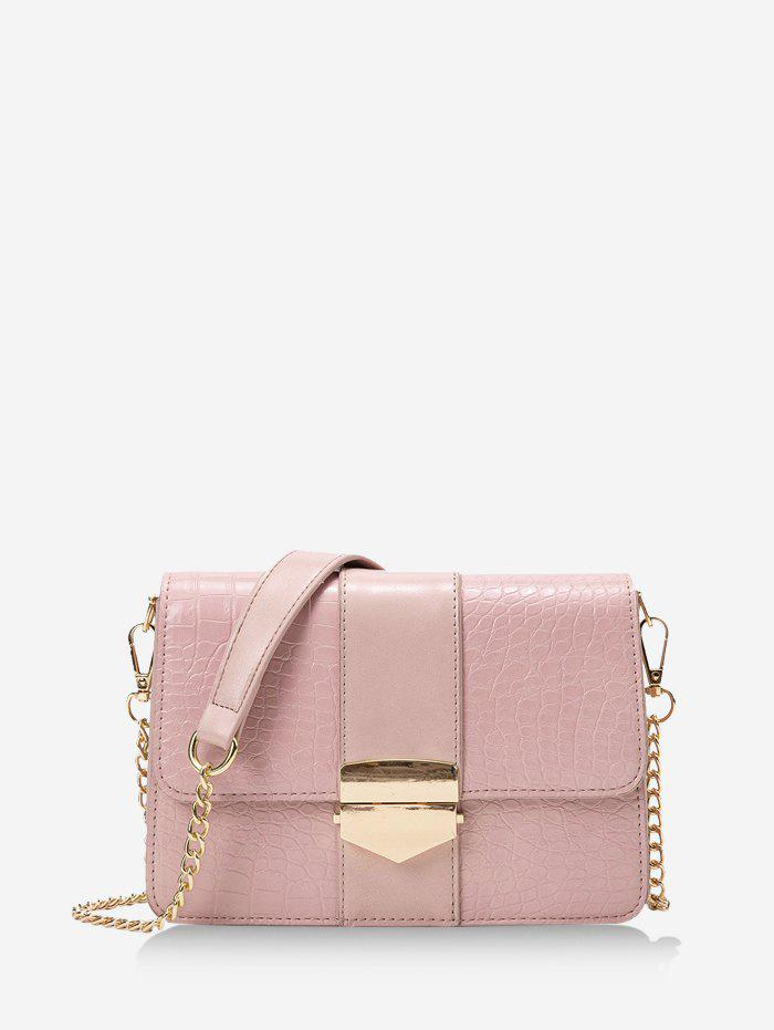 Chain Cover Rectangle Crossbody Bag - LIGHT PINK