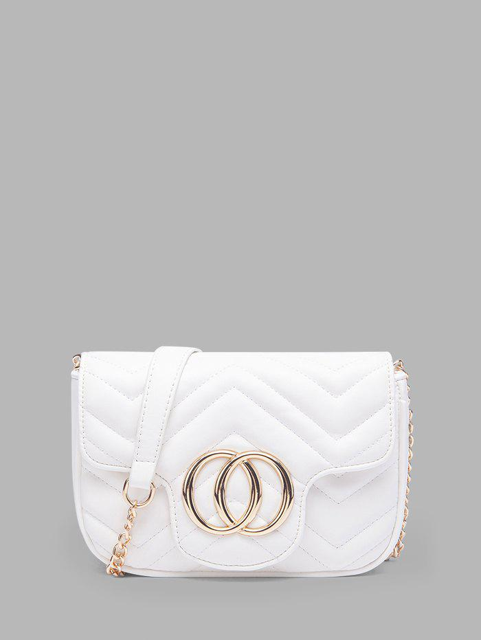 Circle Heart Pattern Quilted Crossbody Bag - WHITE