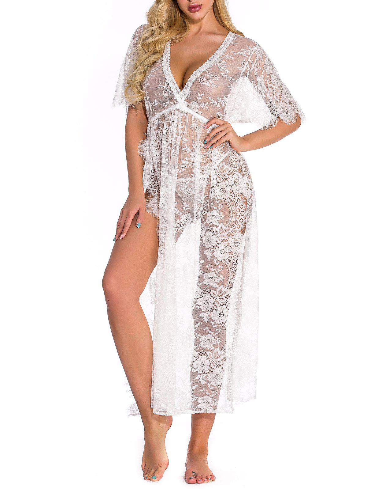 Lace High Slit Lingerie Gown - WHITE L