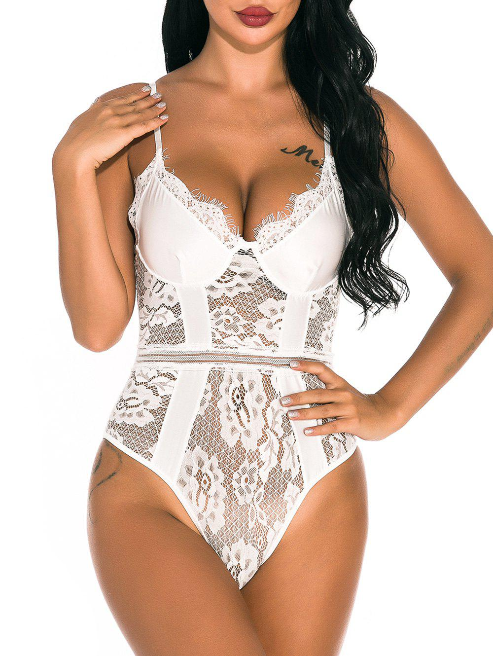 Lace Panel Snap Crotch Bustier Teddy - WHITE 2XL