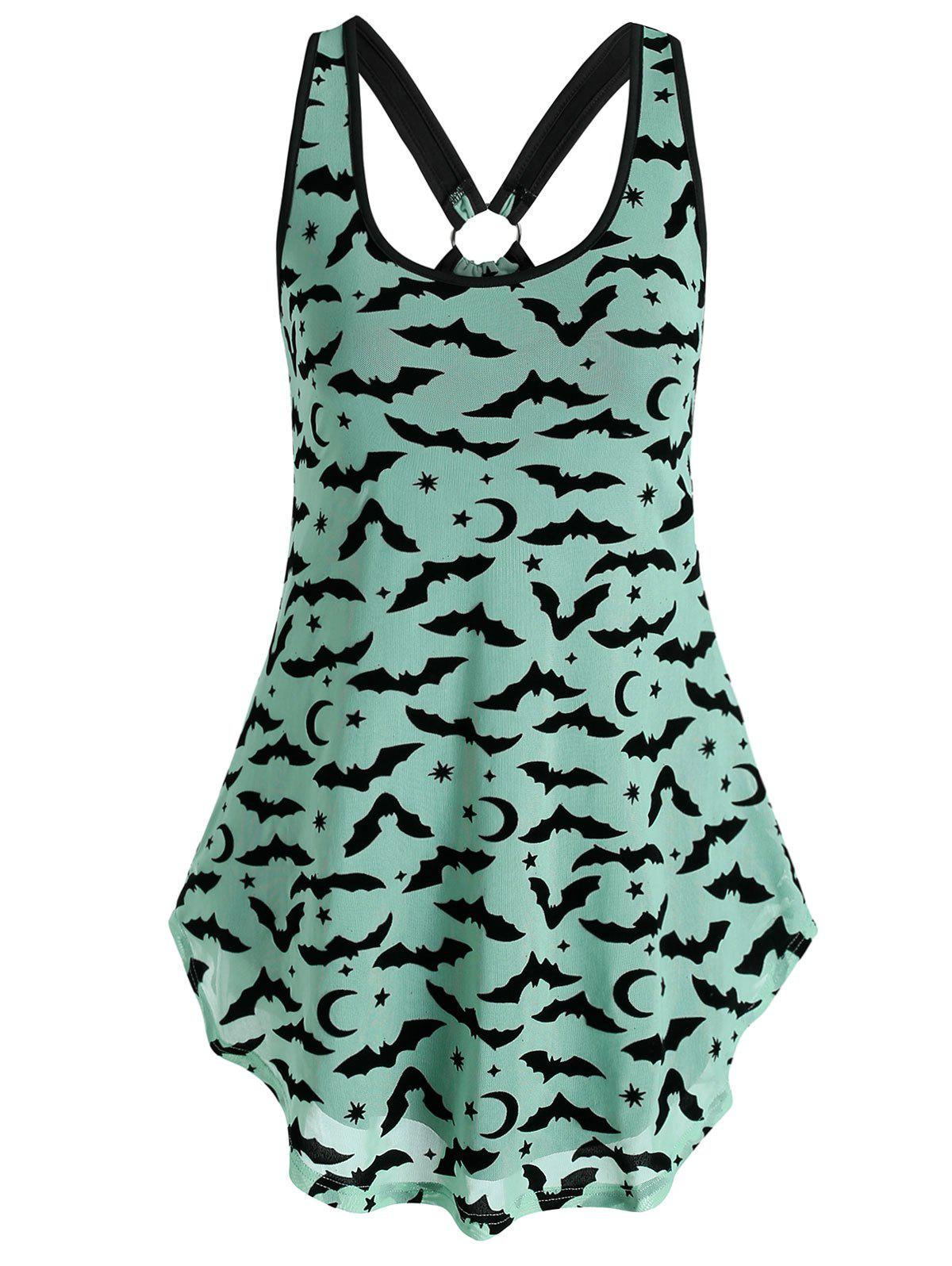 Moon Star Bat Print Mesh Tank Top - GREEN 3XL
