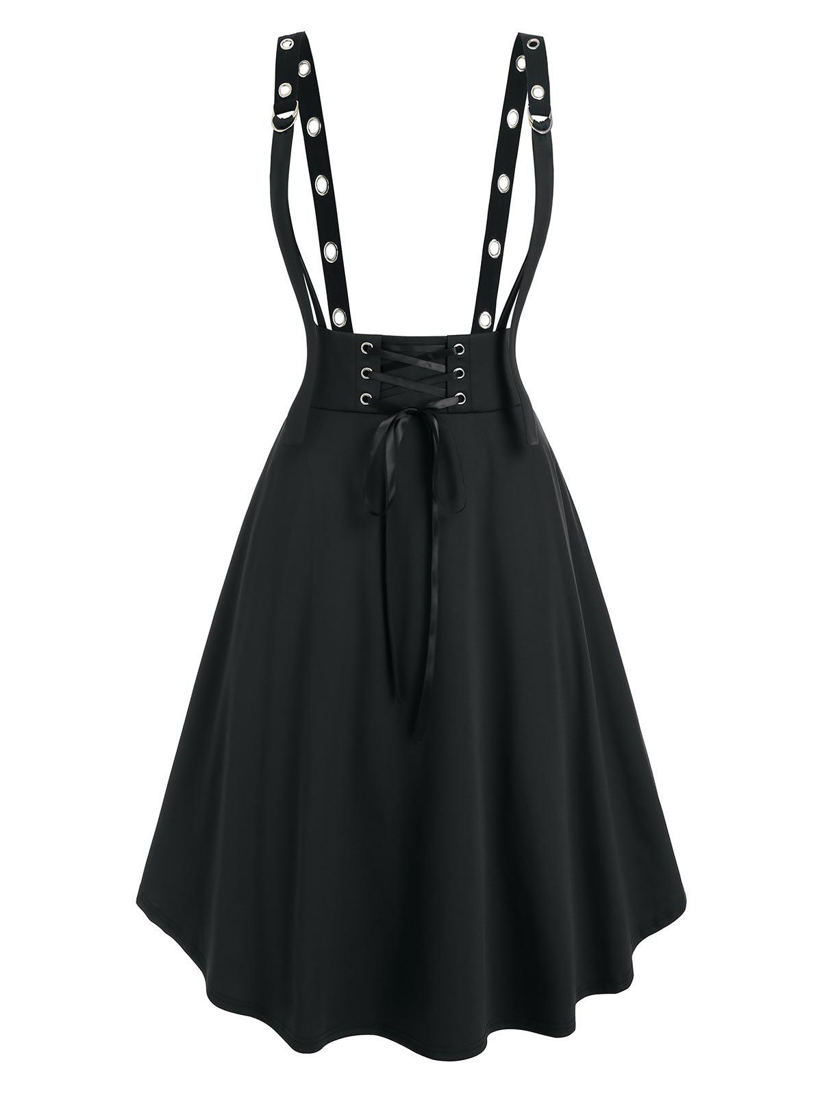Plus Size Lace Up Grommet D Ring Suspender Skirt - BLACK 2X