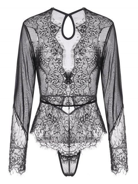 Lace and Mesh Keyhole Snap Crotch Long Sleeve Teddy