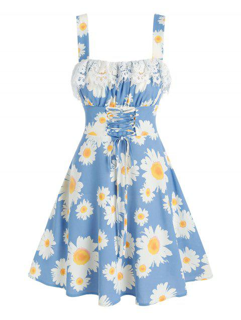Floral Print Lace-up Lace Insert Sleeveless Dress