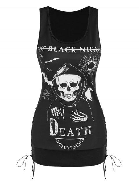 Gothic Death Graphic Print Lace Up Tank Top