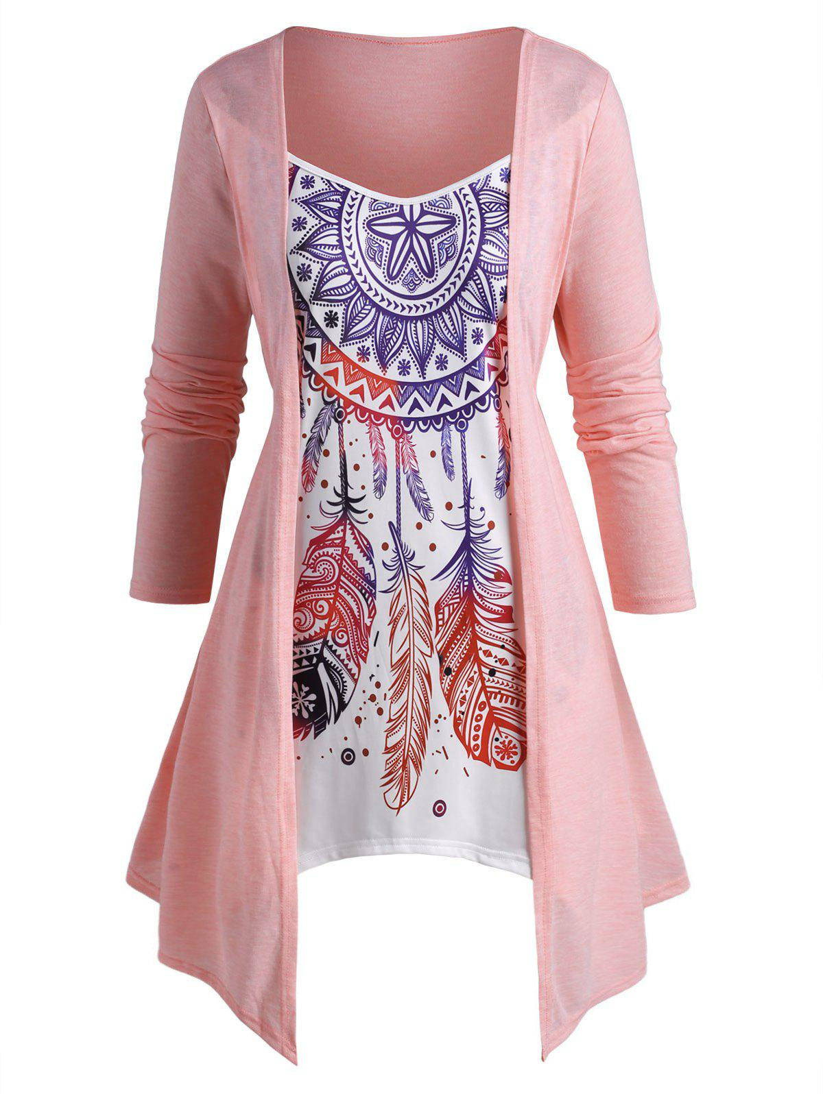 Plus Size Split Front Dreamcatcher Print Faux Twinset Asymmetrical T Shirt - LIGHT PINK 4X