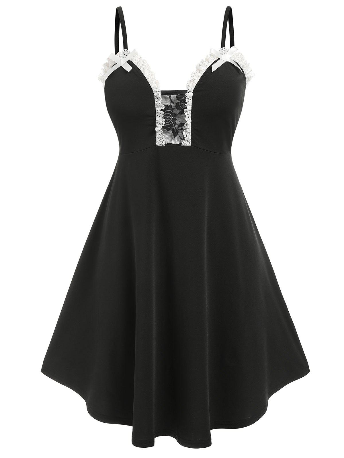 Plus Size Lace Insert Bowknot Cami Sleep Dress - BLACK 3X