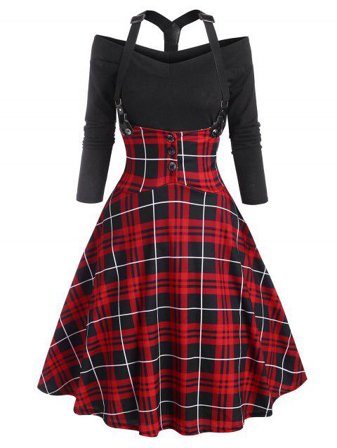 Plaid Y Line Back Suspender Skirt Set