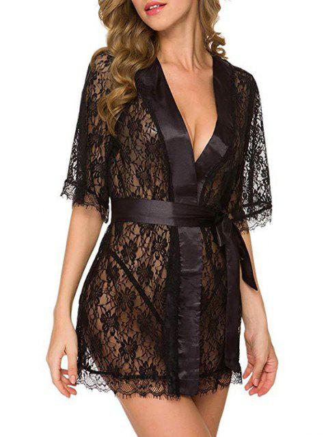 Eyelash Lace Belted Robe With T-back