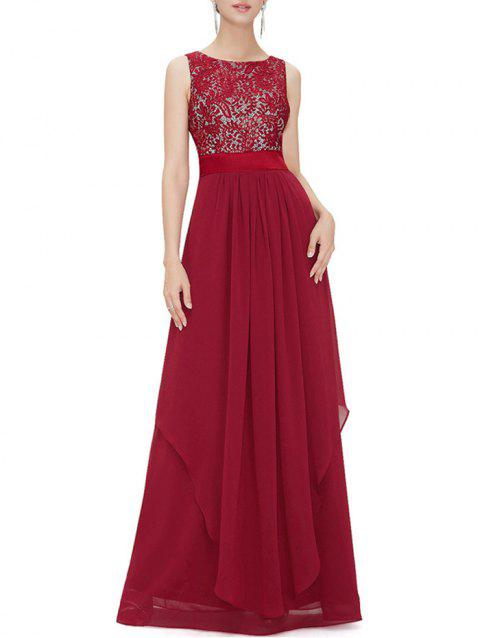 Embroidered Overlay Chiffon Panel Maxi Dress