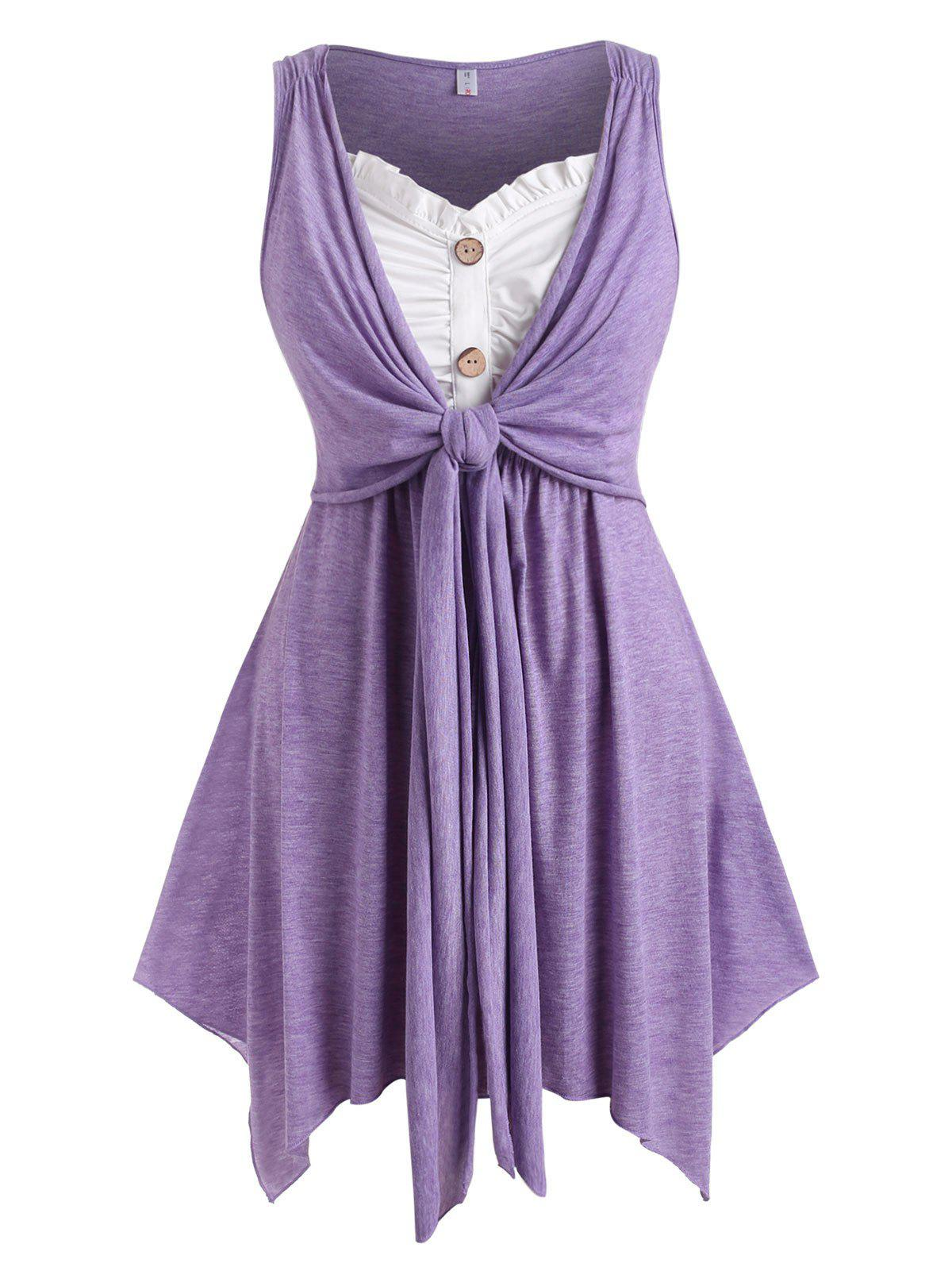 Button Front Knotted Heathered Plus Size Tank Top - PURPLE 3X