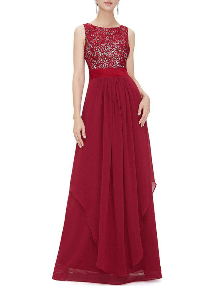 Embroidered Overlay Chiffon Panel Maxi Dress - RED L