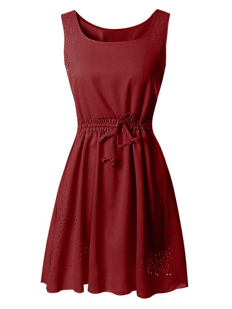 Drawstring Waist Laser Cut Sleeveless Dress - RED XL