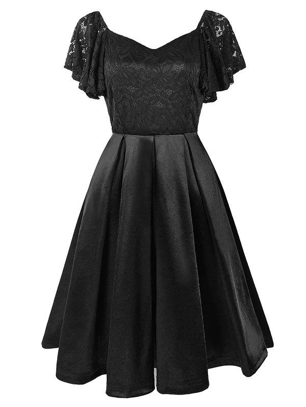 Sweetheart Neck Lace Bodice Butterfly Sleeve Dress - BLACK S
