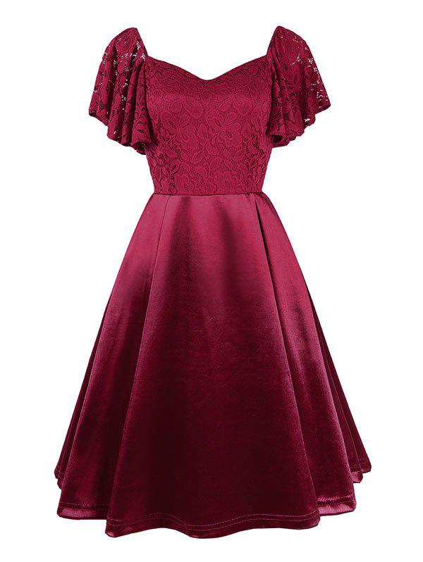 Sweetheart Neck Lace Bodice Butterfly Sleeve Dress - RED XXL