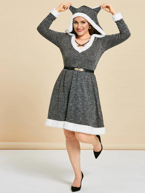Plus Size Cat Ear Hooded Marled Knit A Line Dress