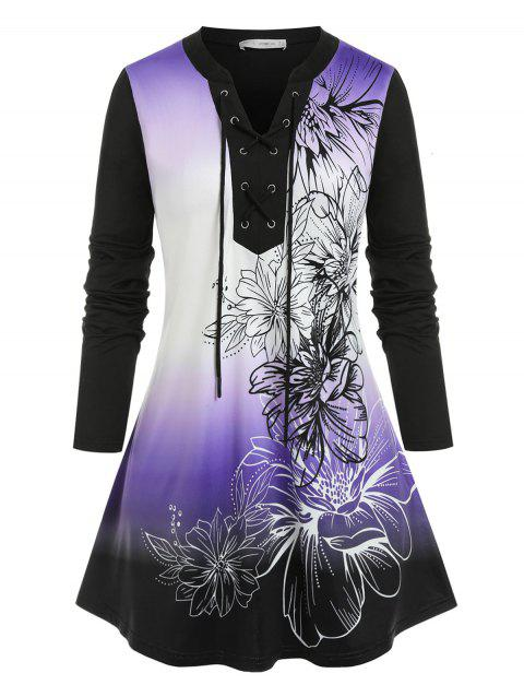 Plus Size Flower Ombre Lace-up Long Sleeve Tee
