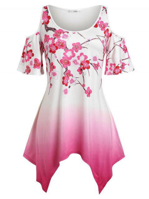 Plus Size Open Shoulder Floral Print Ombre Color Handkerchief Tee