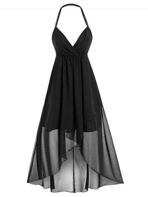 Open Back High Low Halter Midi Dress