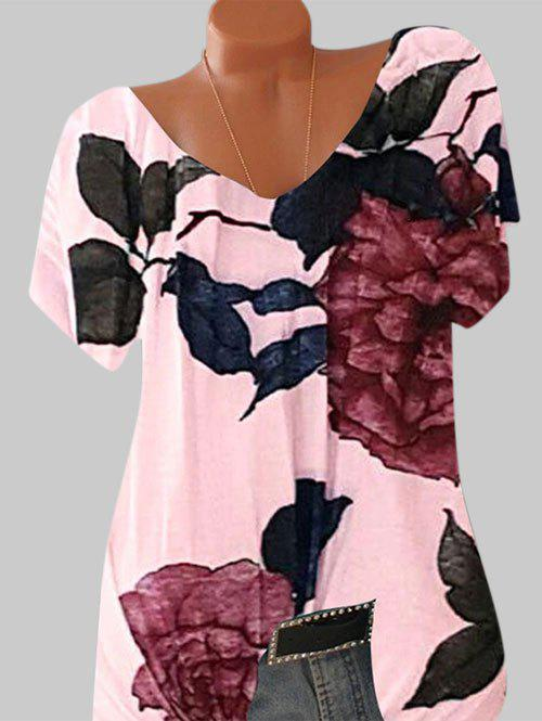 Plus Size Floral Print Batwing Sleeve Tee - LIGHT PINK XL