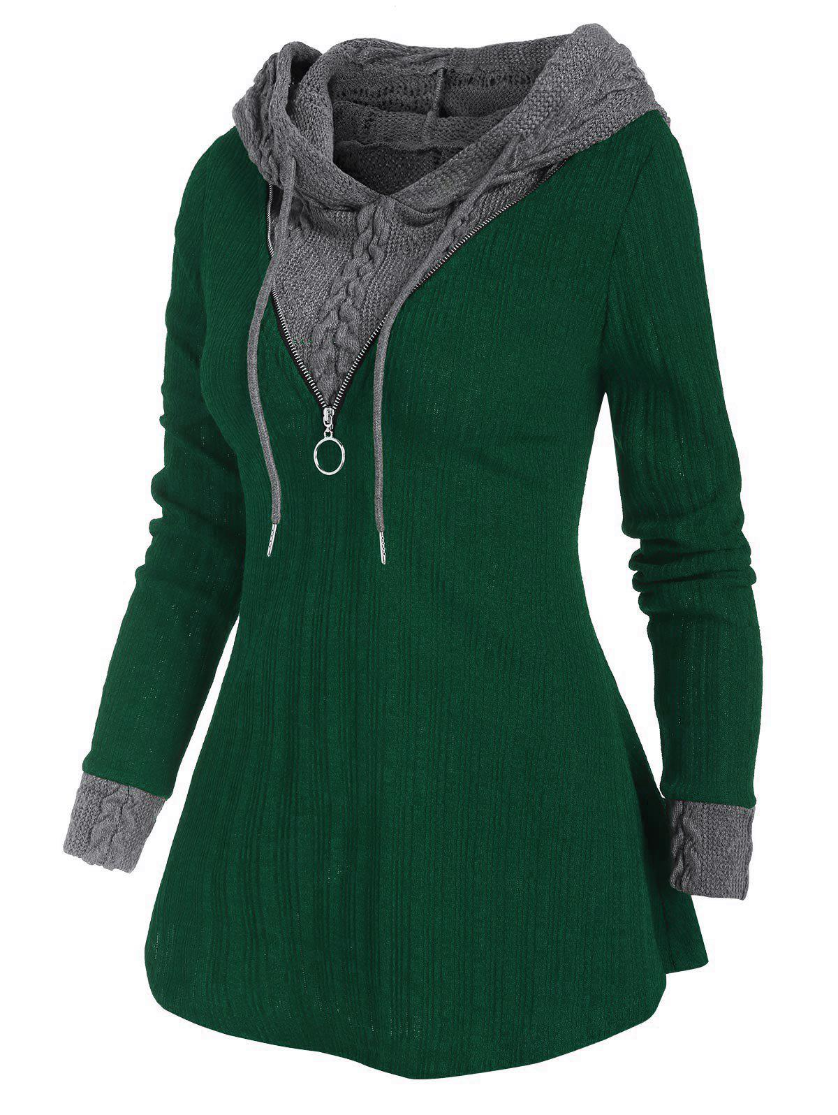 Two Tone Hooded Zip Embellished Sweater - DEEP GREEN S
