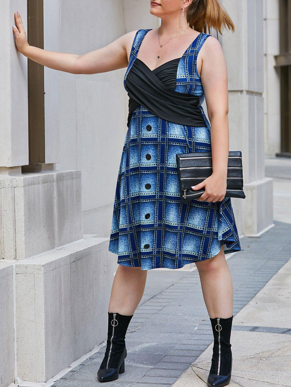 Plus Size Plaid Stitching Printed Button Dress - BLUEBERRY BLUE 1X