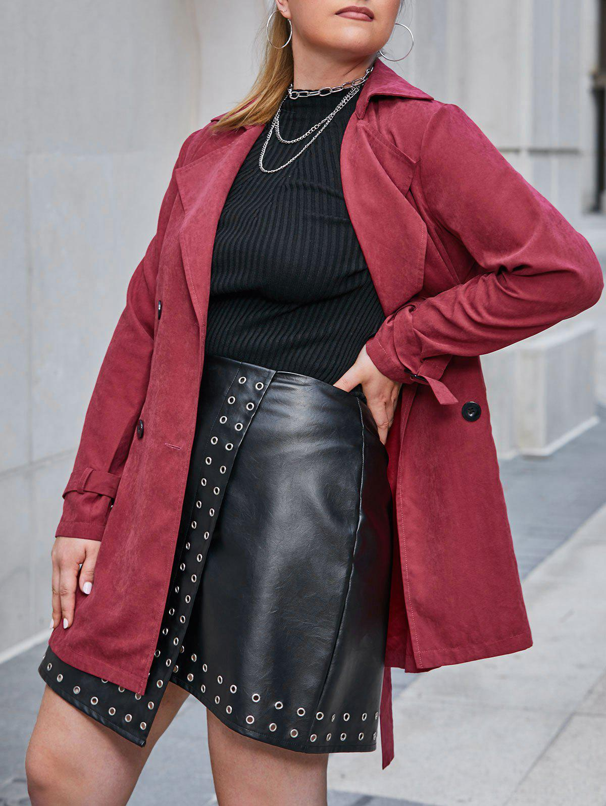 Plus Size Double Breasted Belted Flap Pocket Trench Coat - RED WINE 3X