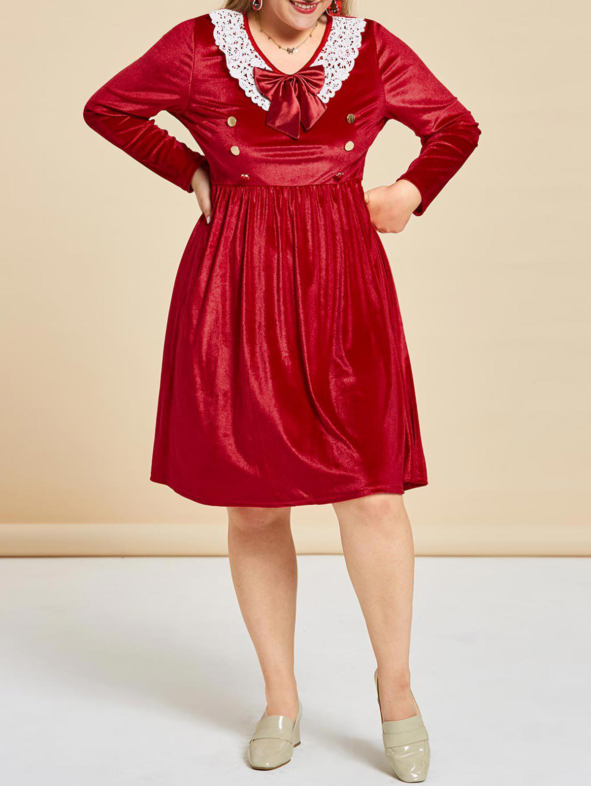 Plus Size Bowknot Velvet Lace Insert Dress - RED 5X