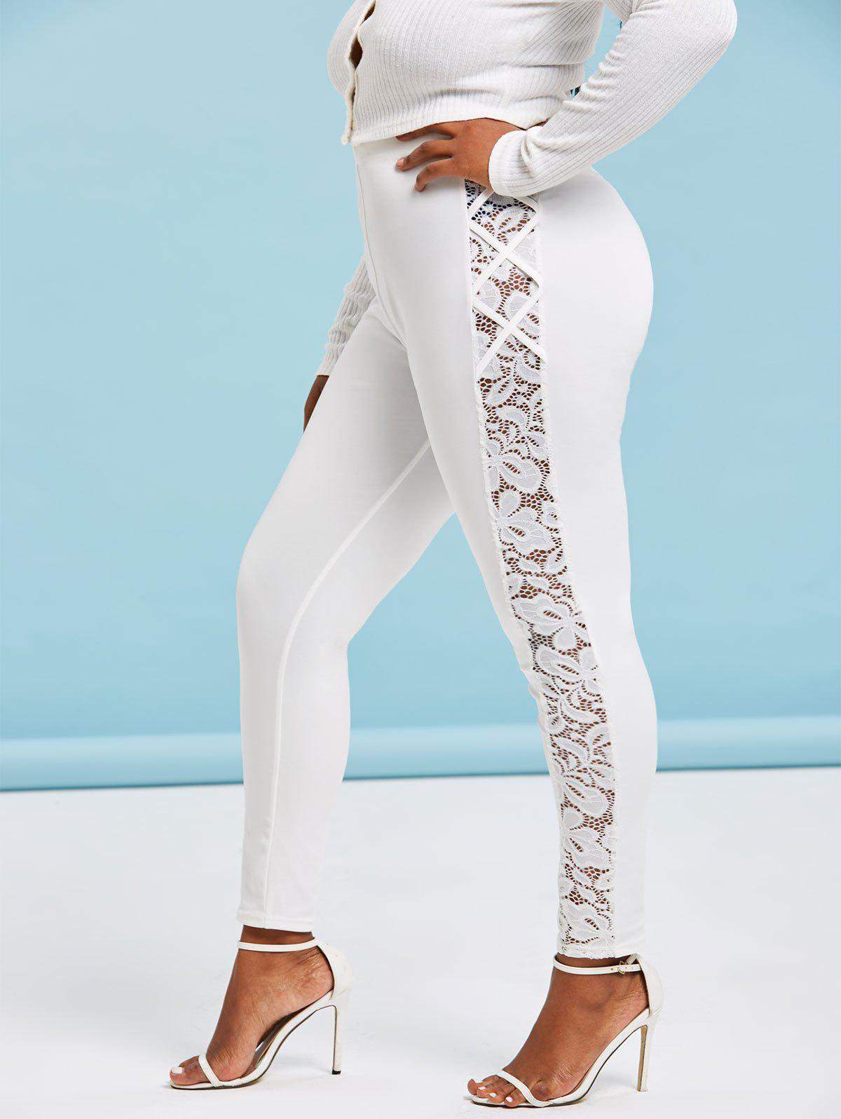 Plus Size High Waisted Lace Insert Skinny Leggings - WHITE 4X