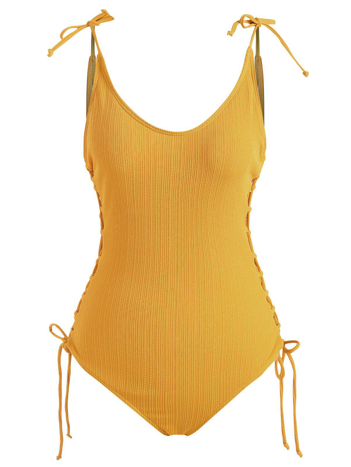 Tie Shoulder Ribbed Lace Up One-piece Swimsuit - DEEP YELLOW L