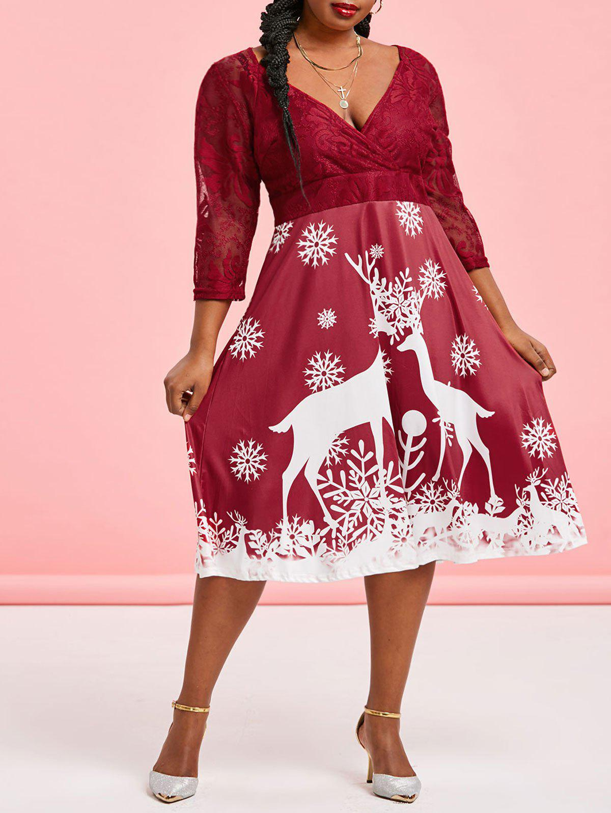 Plus Size Lace Sheer Christmas Snowflake A Line Dress - RED WINE 2X