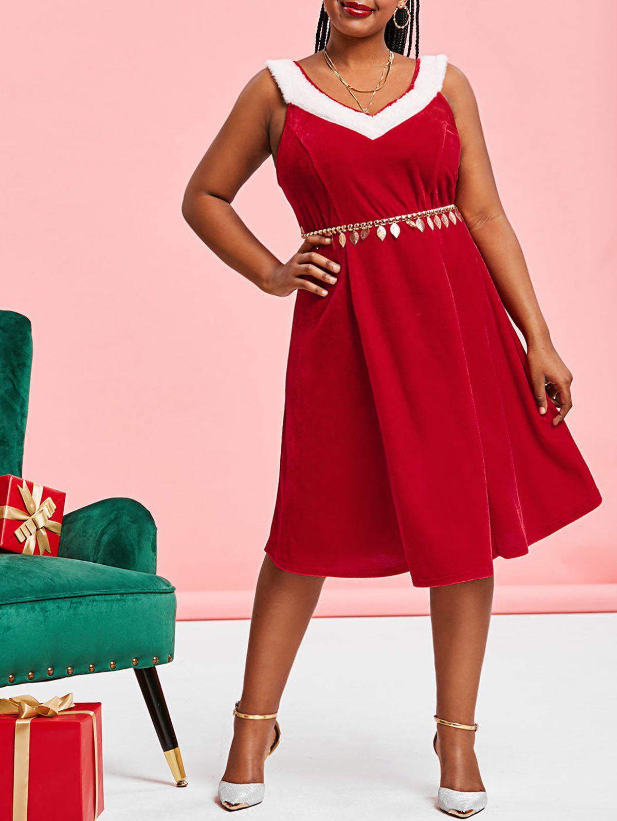 Plus Size Christmas Velvet A Line Tank Dress - RED 4X