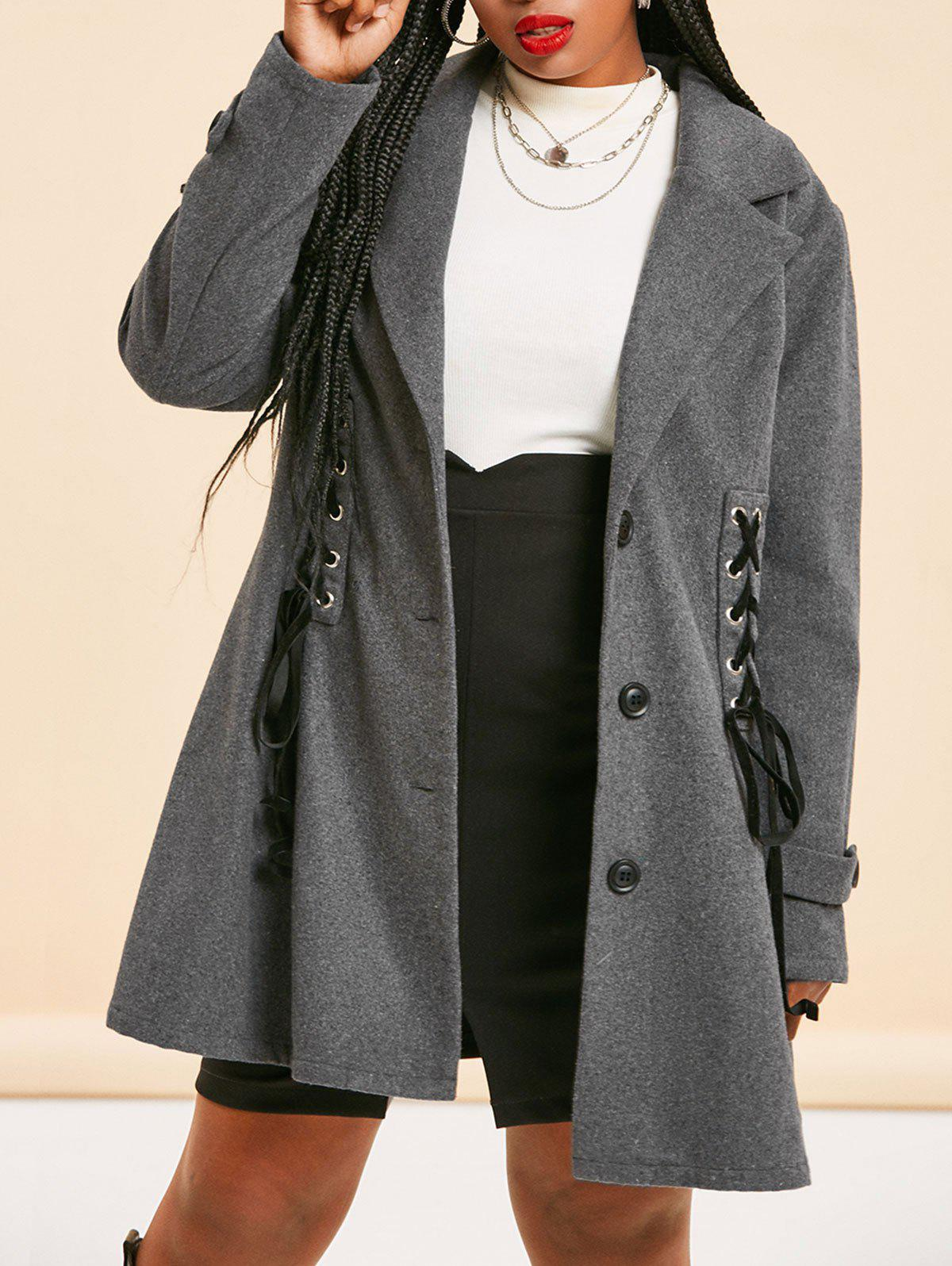 Plus Size Lace-up Single Breasted Tunic Coat - DARK SLATE GREY 3X