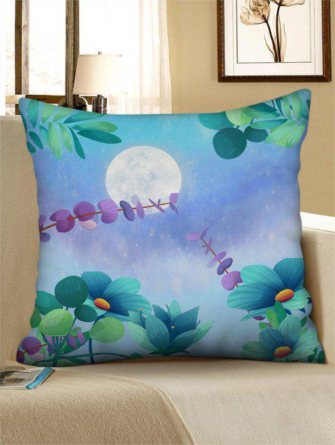 Moon Flower Printed Linen Square Pillowcase