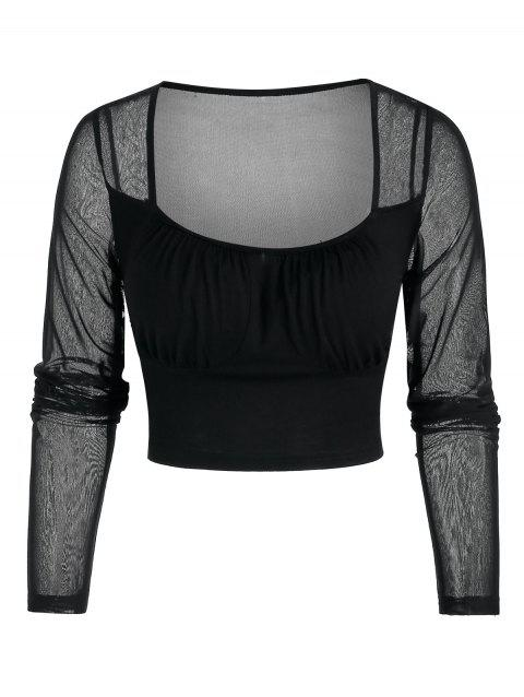 See Through Cropped Mesh Top