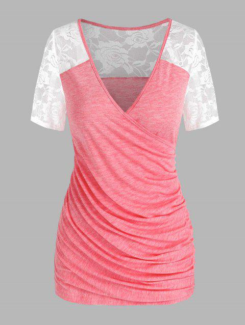 Ruched Lace Panel Surplice Tee