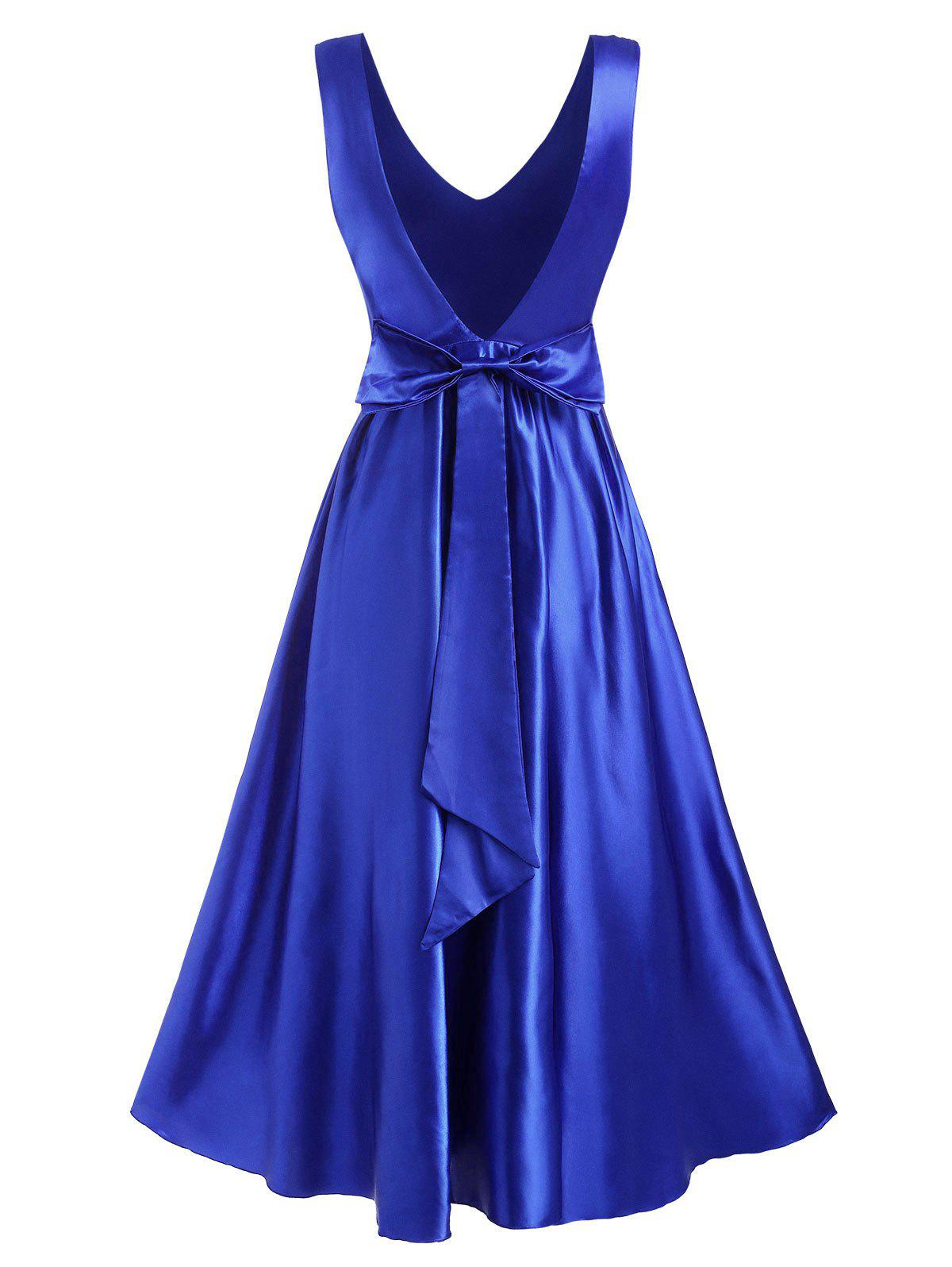 Bowknot Open Back Satin Maxi Ball Gown Dress - BLUE S