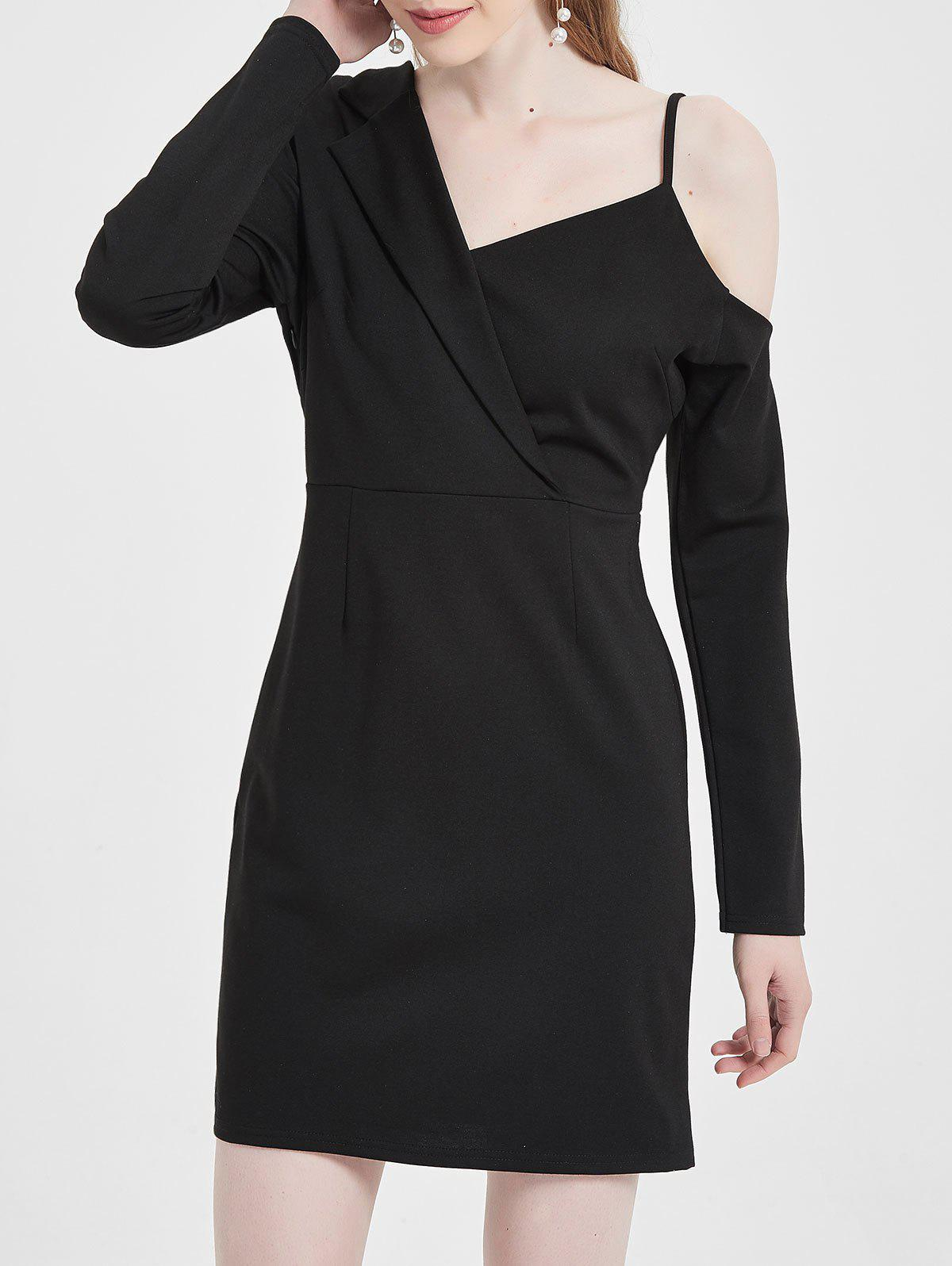 Skew Neck Bodycon Blazer Dress - BLACK M