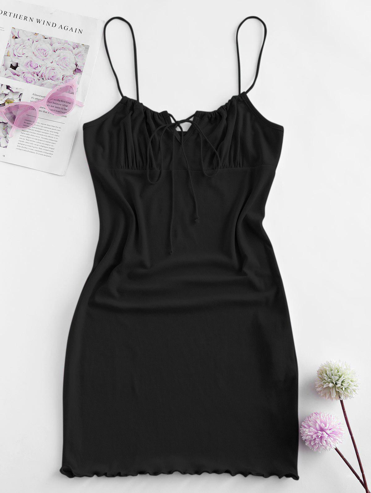 Plus Size Ribbed Tie Ruched Slinky Cami Dress - BLACK XL