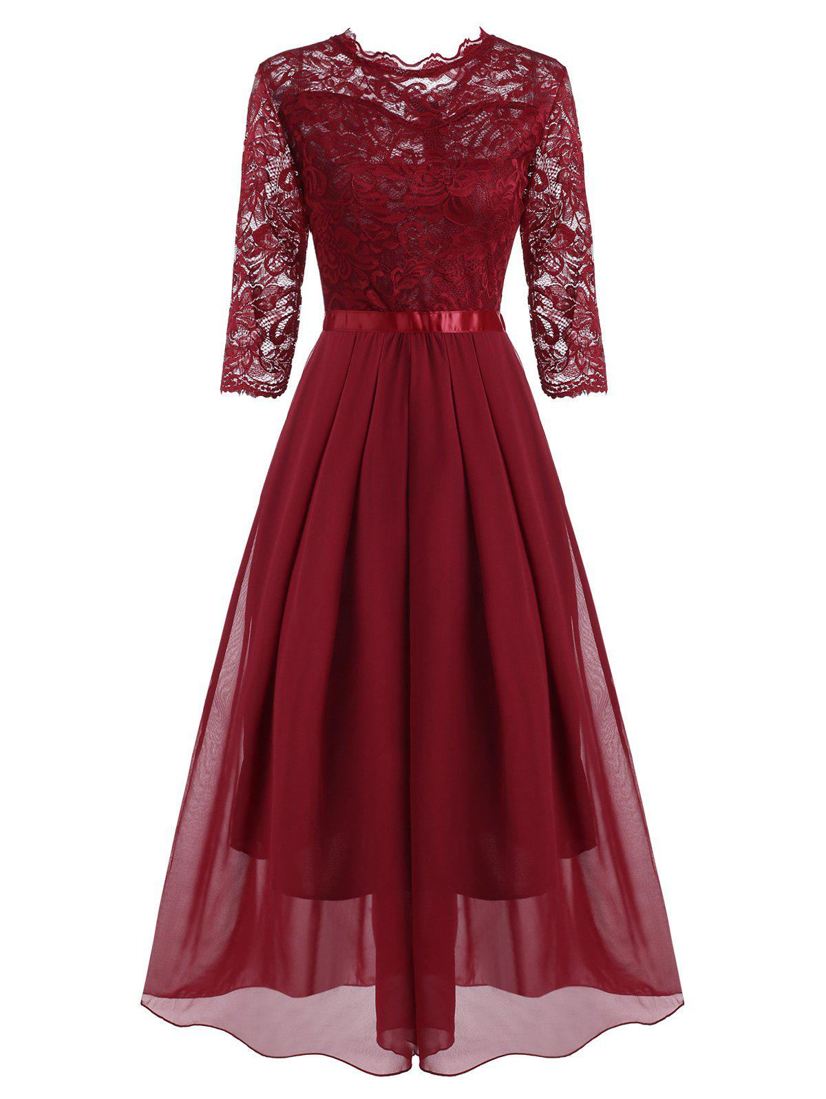 Pleated Detail Lace and Chiffon Floor Length Dress - RED 2XL