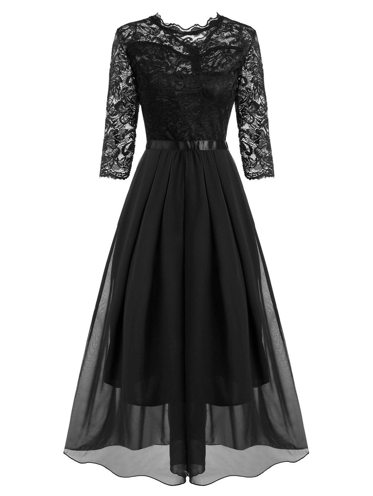 Pleated Detail Lace and Chiffon Floor Length Dress - BLACK M