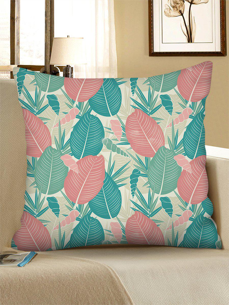 Retro Leaf Conch Print Linen Square Pillowcase - BLUE HOSTA W18 X L18 INCH