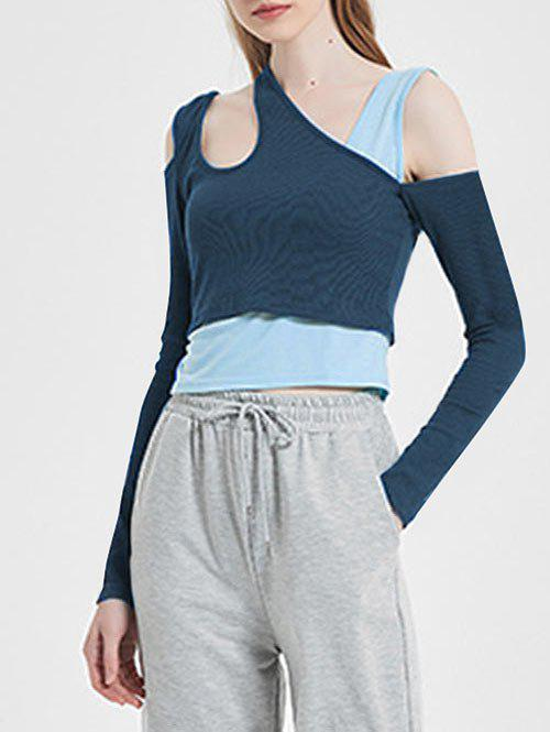 Ribbed Colorblock Asymmetrical Neck 2 in 1 T Shirt - BLUEBERRY BLUE XXL