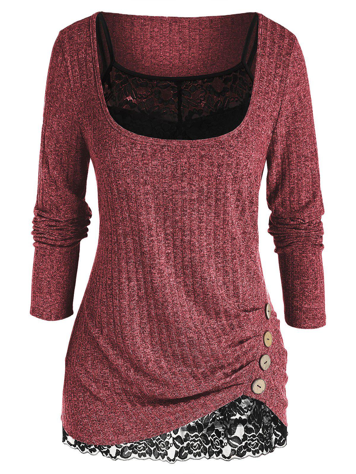 Plus Size Ruched U Neck Sweater with Lace Cami Top Set - DEEP RED 5X
