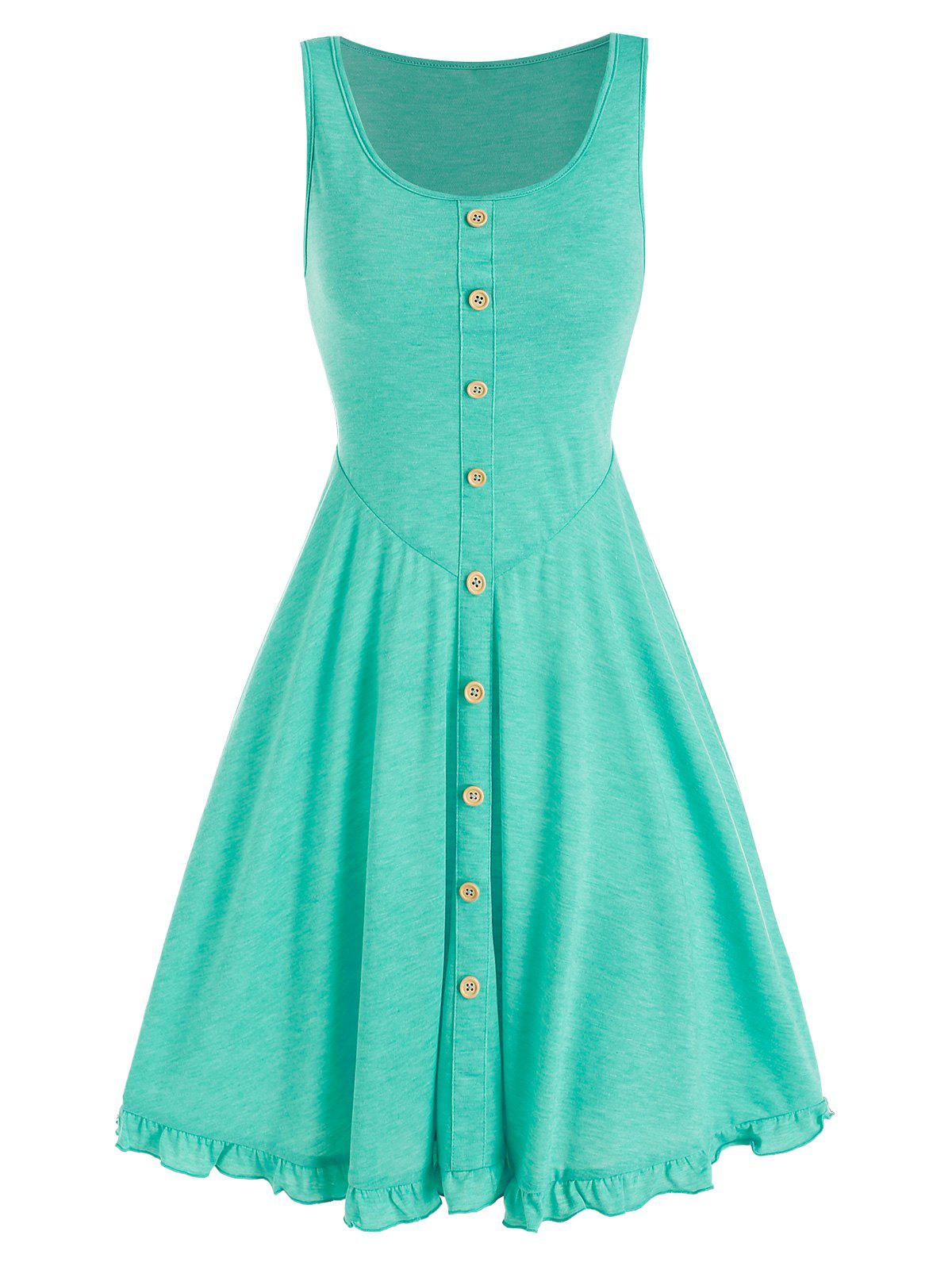 Mock Button Ruffle Mini A Line Dress - LIGHT GREEN XXL