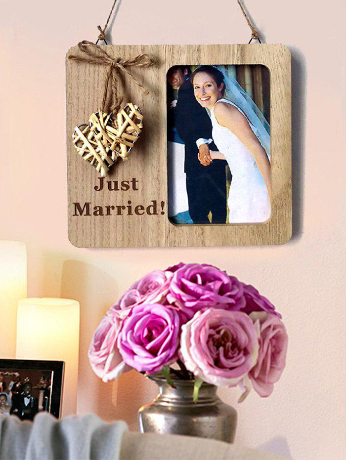 Wooden Country Wedding Woven Heart Photo Frame - BURLYWOOD
