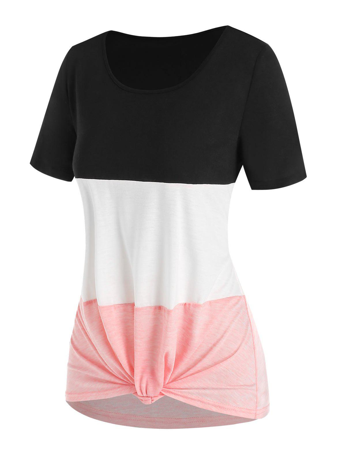 Knotted Colorblock Asymmetric T Shirt - LIGHT PINK XXXL