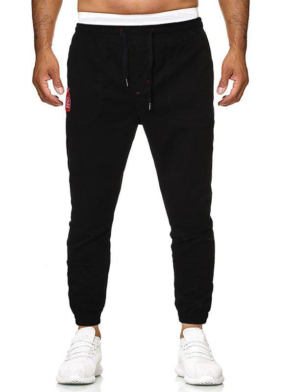 Embroidery Bottle Patch Beam Feet Pants - BLACK 2XL