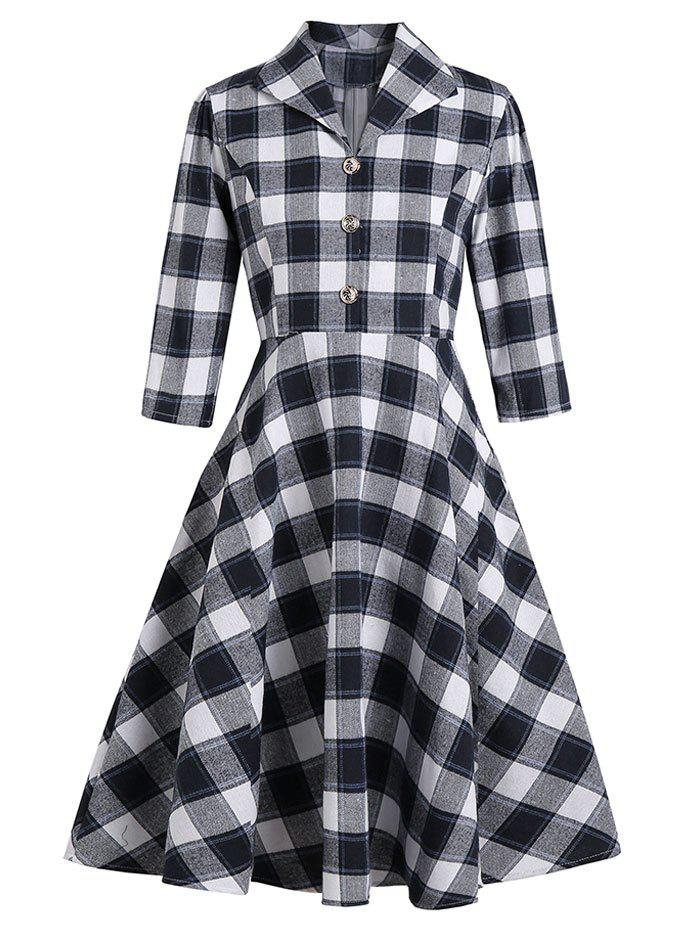 Vintage Plaid Mock Button Dress - DEEP BLUE 2XL